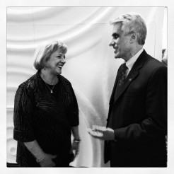 Assistant Secretary at the U.S. Department of Education Deborah Delisle and University of Iowa College of Education Dean Nicholas Colangelo share a laugh at the Wallace Symposium. Photo courtesy of the University of Iowa College of Education Instagram account (http://instagram.com/uicollegeofed#).
