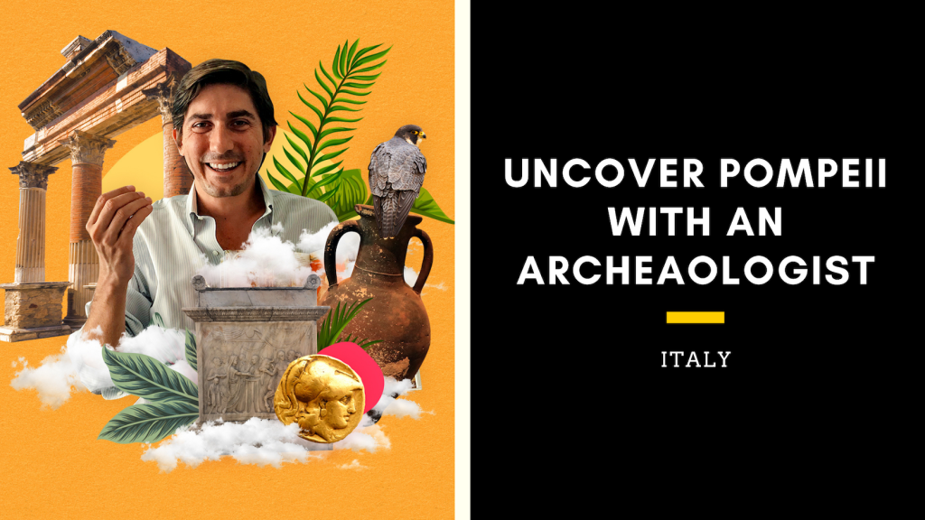 "Picture of the presenter with the title ""Uncover Pompeii with and Archaeologist"""